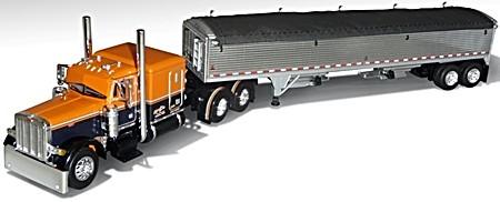 MIARER & SON Pete 379 w/ chrome grain trailer