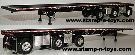 Wilson 53' spread axle Flatbed with 3rd Steer tag axle, 2 toolboxes/side