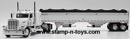 Pete 389 63&#034 Flat Top pulling a Tandem Axle Wilson Grain Trailer